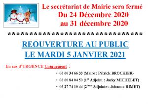 FERMETURE MAIRIE NOEL 2020